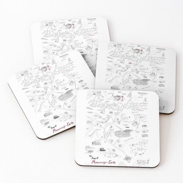 The Map of Manuscript Earth Coasters (Set of 4)