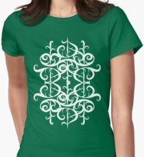 White Flourishes Women's Fitted T-Shirt