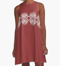 White Flourishes A-Line Dress