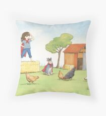 Girl in Cape Throw Pillow