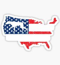 Pegatina Puntero de pelo corto alemán GSP Bandera estadounidense