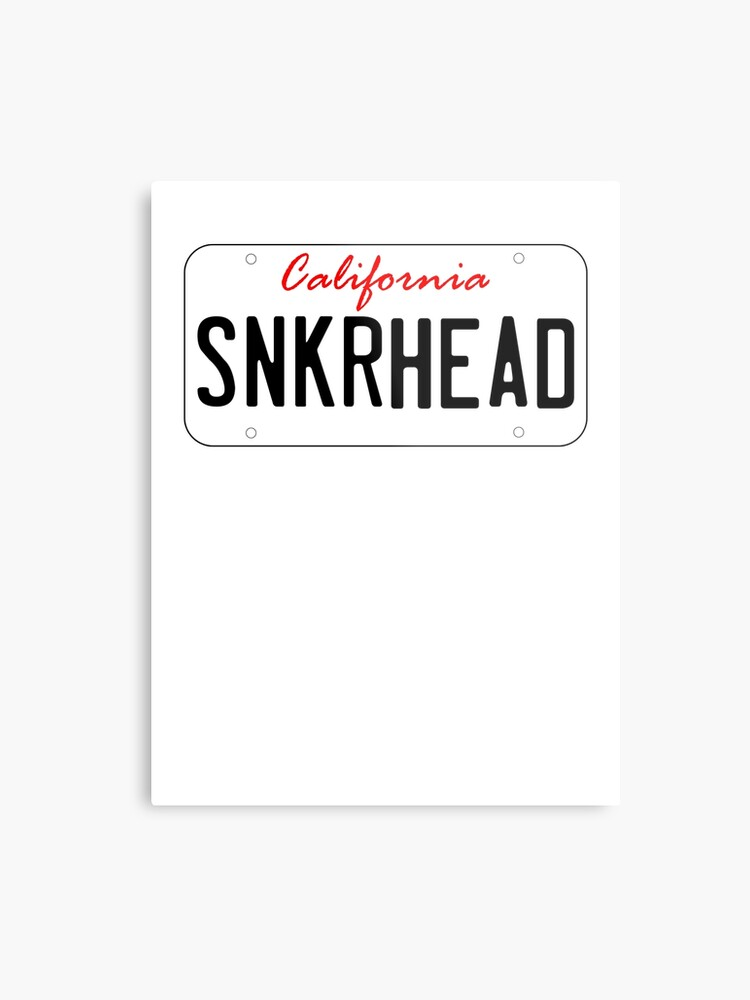 California License Plate - Sneaker Head | Metal Print