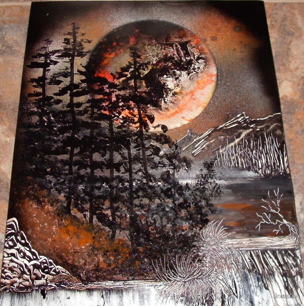 "Sunset Cedar Falls- 11"" x 14""-2009 by linmarie"