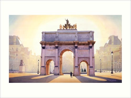 "«Carrusel ""Riding the Light"" en París Acuarela» de Paul Jackson"