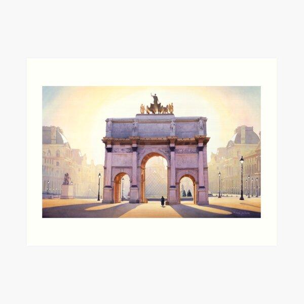 """Riding the Light"" Carousel in Paris Watercolor  Art Print"