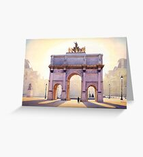 """""""Riding the Light"""" Carousel in Paris Watercolor  Greeting Card"""
