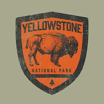 Yellowstone  National Park Vintage Badge Bison Design   by robotbasecamp
