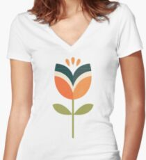 Retro Tulip - Orange and Olive Green Women's Fitted V-Neck T-Shirt