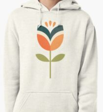 Retro Tulip - Orange and Olive Green Pullover Hoodie