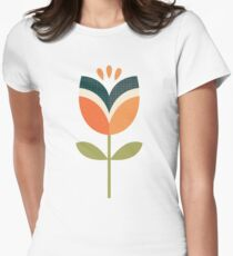 Retro Tulip - Orange and Olive Green Women's Fitted T-Shirt