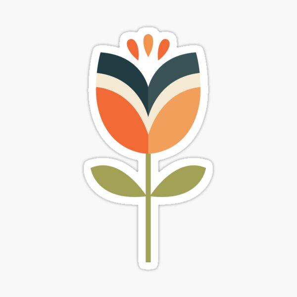 Retro Tulip - Orange and Olive Green Sticker