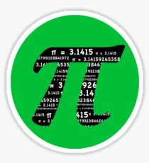 Pi Day graphic in green and black  Sticker