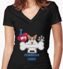 PEMBROKE CORGI Cute Dog Gift Idea Funny Dogs Women's Fitted V-Neck T-Shirt