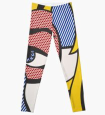 Girl with a tear, Roy Lichtenstein tribute illustration Leggings
