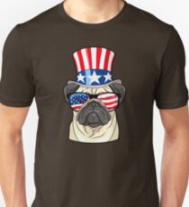 Pug American Flag Hat Glasses 4th of July Dog Tee Unisex T-Shirt