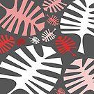 «Monstera blanca rosada deja en gris» de by-jwp