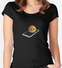 Handy mit Emoticon Tailliertes Rundhals-Shirt