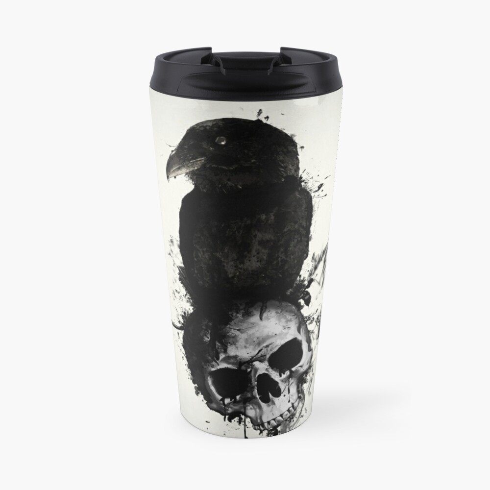 Raven and Skull Travel Mug