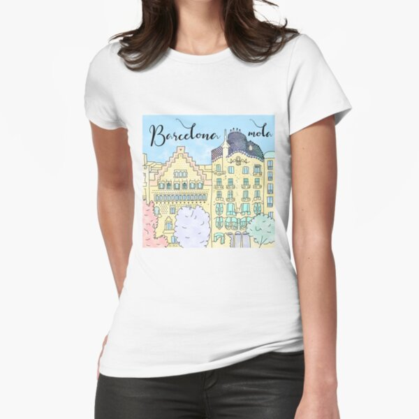 Barcelona mola by Alice Monber Fitted T-Shirt