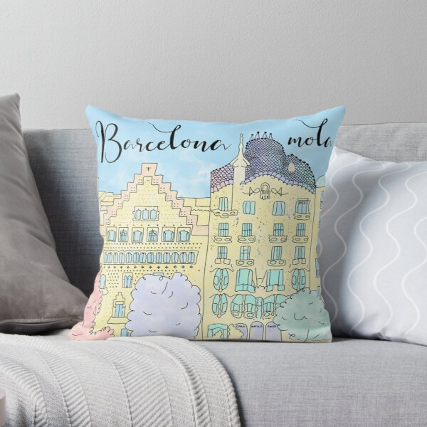 Barcelona mola by Alice Monber Throw Pillow