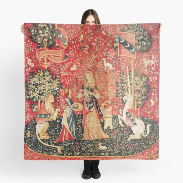 LADY AND UNICORN ,SMELL ,Lion,Fantasy Flowers,Animals Red Green Floral Scarf