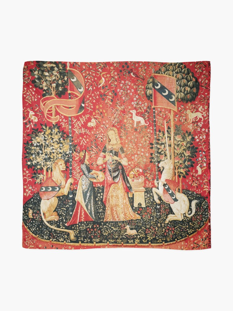 Alternate view of LADY AND UNICORN ,SMELL ,Lion,Fantasy Flowers,Animals Red Green Floral Scarf