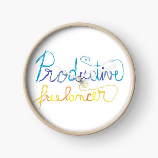 """productive freelancer"" handwritten art Clock"