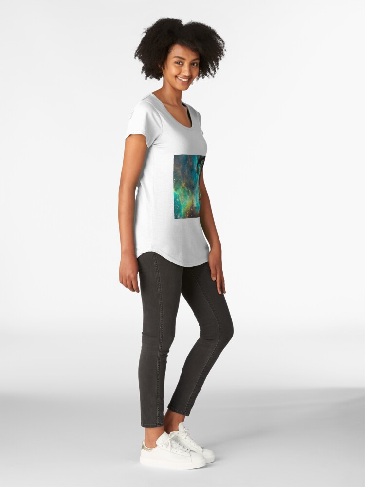 Alternate view of Green Galaxy Premium Scoop T-Shirt