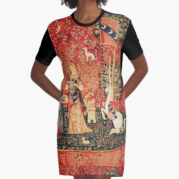 LADY AND UNICORN ,SMELL ,Lion,Fantasy Flowers,Animals Red Green Floral Graphic T-Shirt Dress