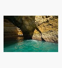 Swimming in a Sea Cave - Raw Beauty in Turquoise and Amber Photographic Print