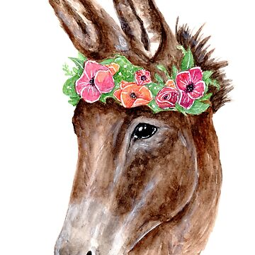 Donkey with Flowercrown - Watercolour Painting by patti2905