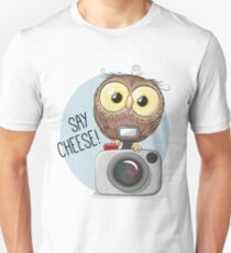 Cute Owl with camera Unisex T-Shirt