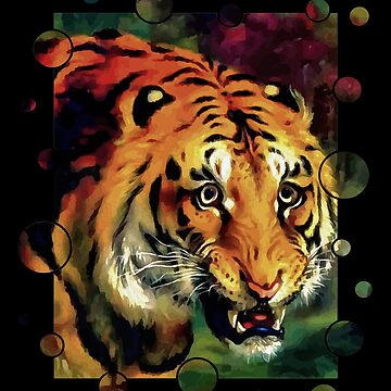 Bengal Tiger Vector With Border by taiche