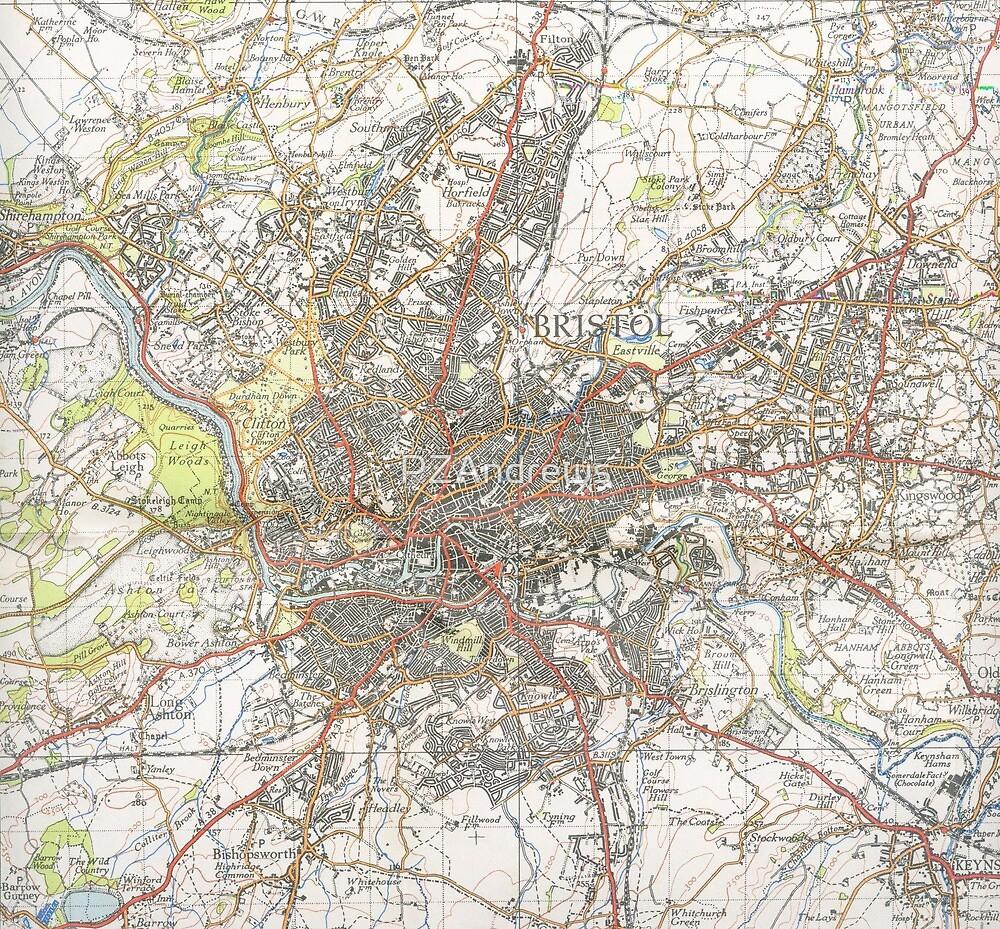 Map Of Bristol England.Map Of Bristol Uk 1946 By Pzandrews Redbubble