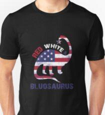 Red White Blue Apparel Bluosaurus Dinosaur T Rex T Shirt Unisex T-Shirt
