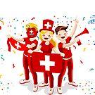 «Fanáticos del fútbol de la bandera de Suiza» de aurielaki