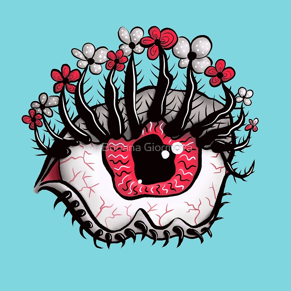 Eye Melt - Weird Red Eye Flower Eyelashes Digital Art by Boriana Giormova