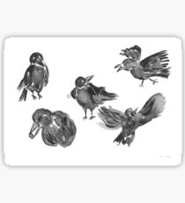 Expressive Crows  Sticker