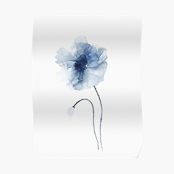 Blue Watercolor Poppies #2 Poster