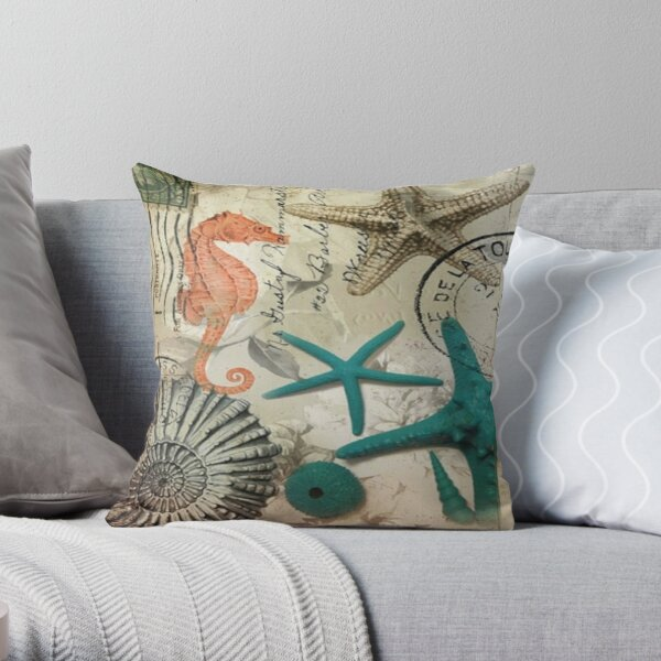 coastal seashell teal starfish seahorse ocean beach Throw Pillow