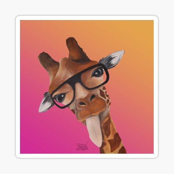 Girafe dégradé rose orange Sticker