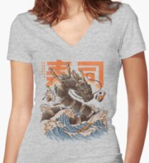 Great Sushi Dragon  Women's Fitted V-Neck T-Shirt