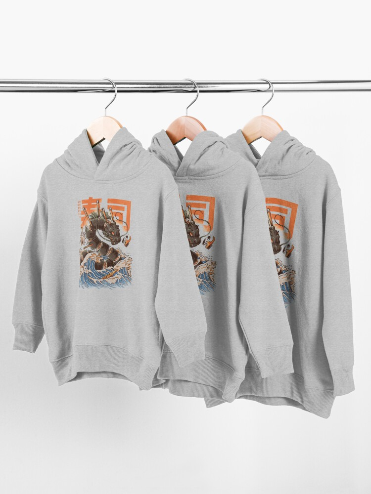 Alternate view of Great Sushi Dragon  Toddler Pullover Hoodie