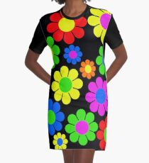 Hippy Flower Daisy Spring Pattern Graphic T-Shirt Dress