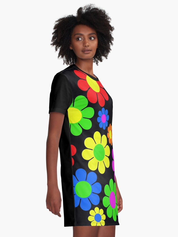 Alternate view of Hippy Flower Daisy Spring Pattern Graphic T-Shirt Dress