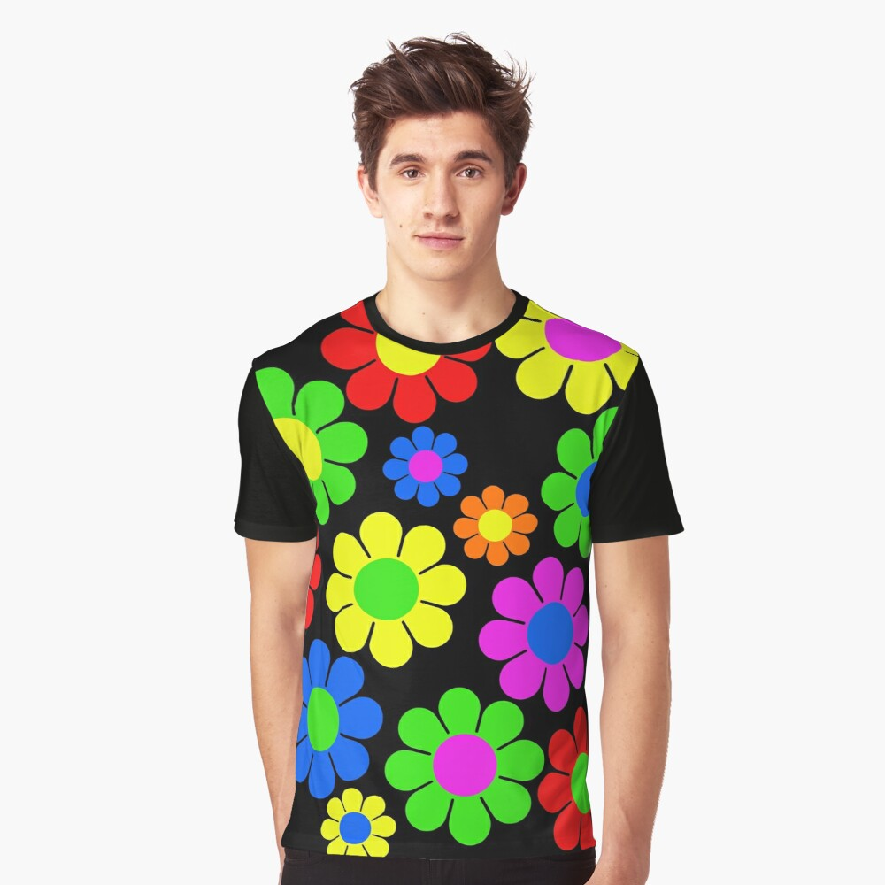 Hippy Flower Daisy Spring Pattern Graphic T-Shirt