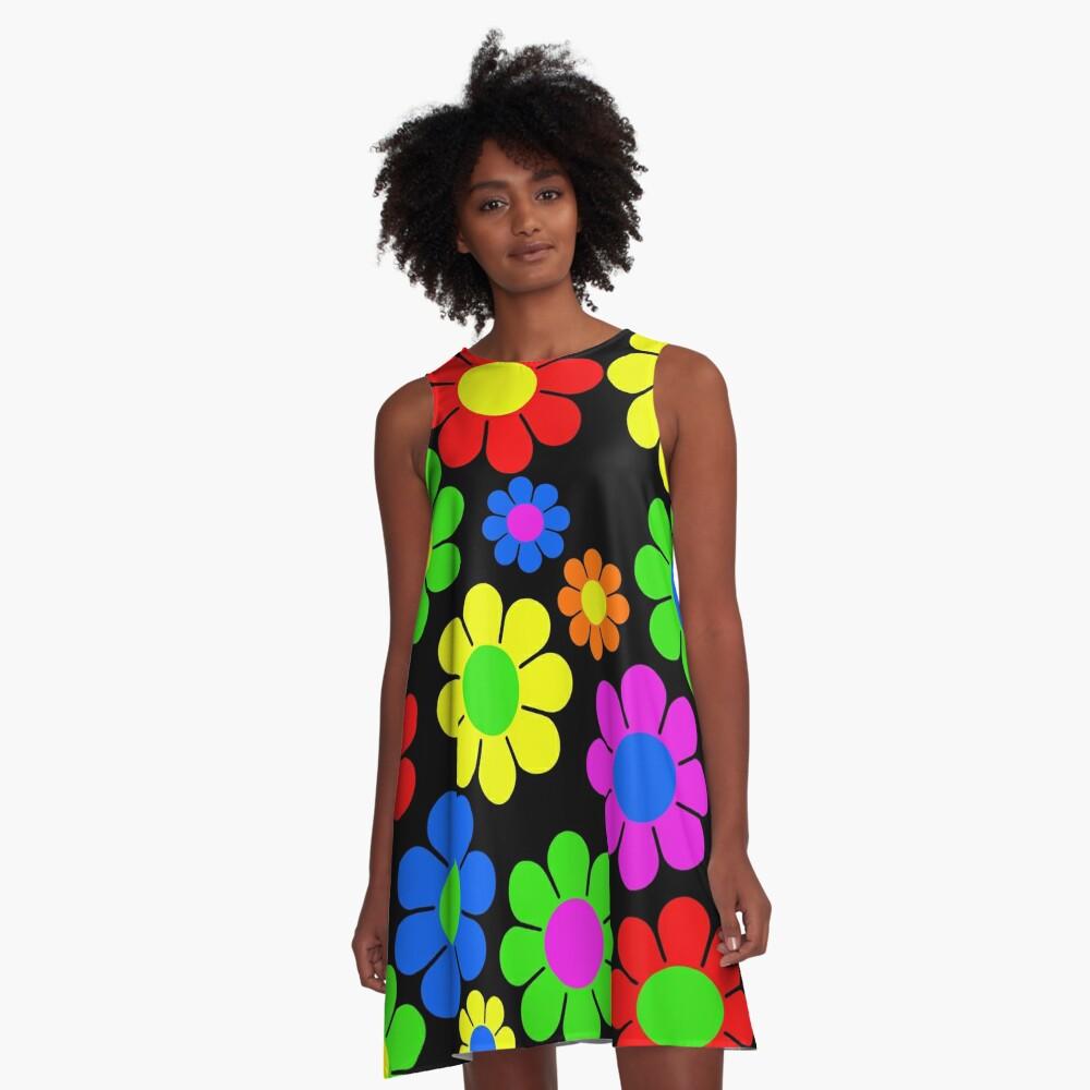 Hippy Flower Daisy Spring Pattern A-Line Dress