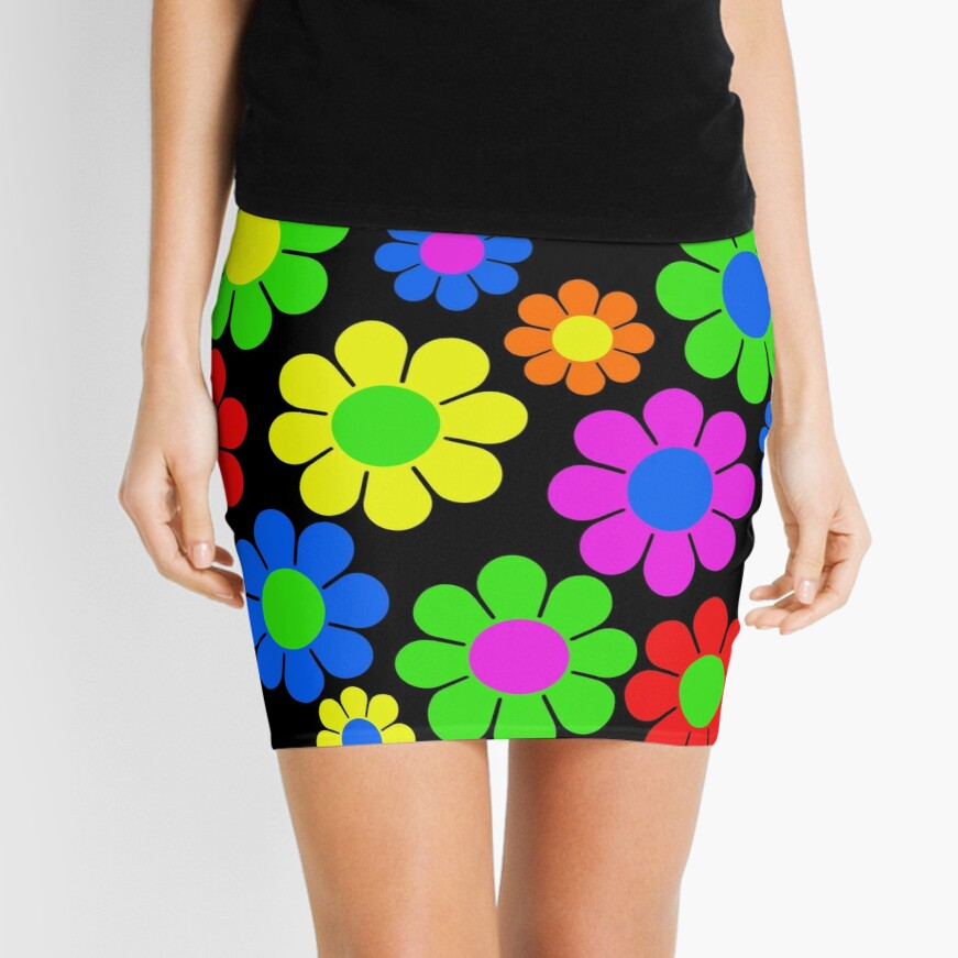 Hippy Flower Daisy Spring Pattern Mini Skirt