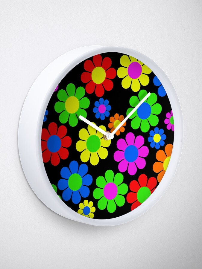 Alternate view of Hippy Flower Daisy Spring Pattern Clock