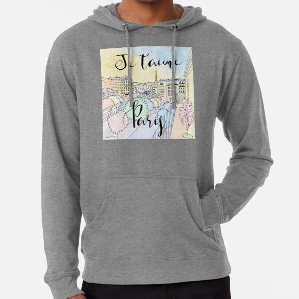 Je t'aime Paris by Alice Monber Lightweight Hoodie